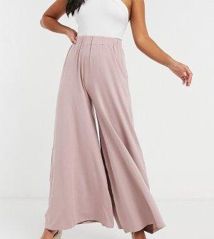Трикотажные брюки палаццо серо-бежевого цвета ASOS DESIGN Petite-Розовый Petite