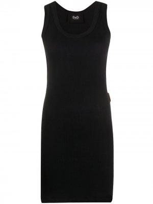 Удлиненный топ в рубчик Dolce & Gabbana. Цвет: черный