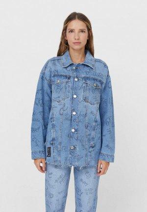 Куртка джинсовая Stradivarius. Цвет: синий