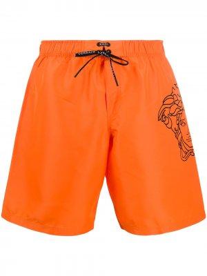 Плавки-шорты с принтом Pop Medusa Versace. Цвет: оранжевый