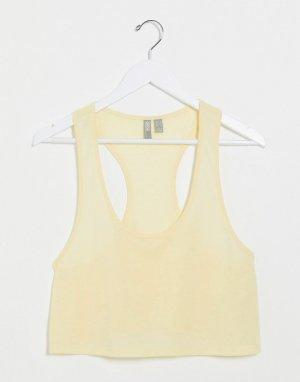 Желтая короткая майка с добавлением льна -Желтый ASOS DESIGN