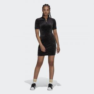 Платье с коротким рукавом и высоким воротником Originals adidas. Цвет: черный
