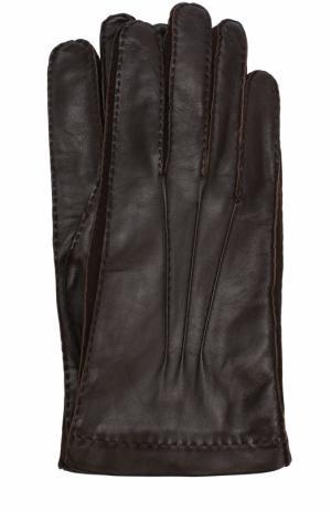 Кожаные перчатки с подкладкой из смеси кашемира и шелка Loro Piana. Цвет: темно-коричневый