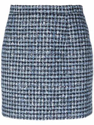 Твидовая юбка мини с завышенной талией Alessandra Rich. Цвет: синий