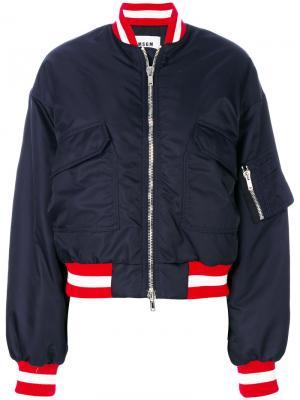 Куртка-бомбер с карманами MSGM. Цвет: синий