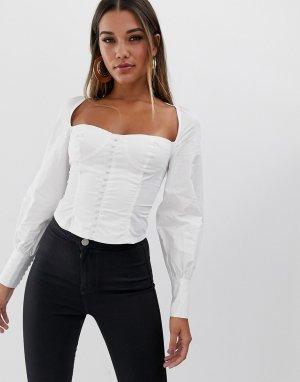 Белая рубашка на пуговицах с квадратным вырезом и пышными рукавами манжетах -Белый Club L London