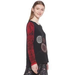 Блузка с круглым вырезом, графическим рисунком и длинными рукавами DESIGUAL. Цвет: черный наб. рисунок