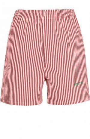 Хлопковые мини-шорты в контрастную полоску Walk of Shame. Цвет: красный