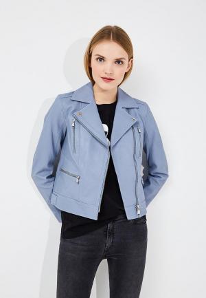 Куртка кожаная Karl Lagerfeld KA025EWAUOZ8. Цвет: голубой