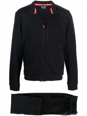 High-neck cotton-blend track suit set Ea7 Emporio Armani. Цвет: черный