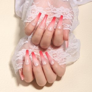 24шт омбре Накладные ногти & 1шт пилочка для ногтей 1 лист лента SHEIN. Цвет: красный
