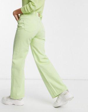Широкие джинсы из органического хлопка с завышенной талией Yoko-Зеленый Monki