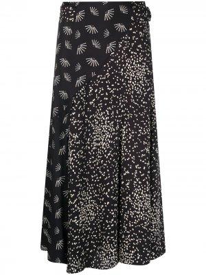 Расклешенная юбка с принтом Luisa Cerano. Цвет: черный