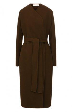 Пальто из смеси шерсти и кашемира The Row. Цвет: хаки