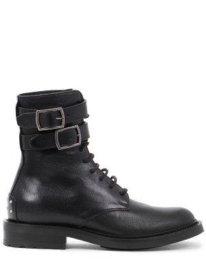Кожаные ботинки с пряжками YSL