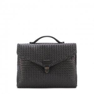 Кожаный портфель Bottega Veneta. Цвет: серый