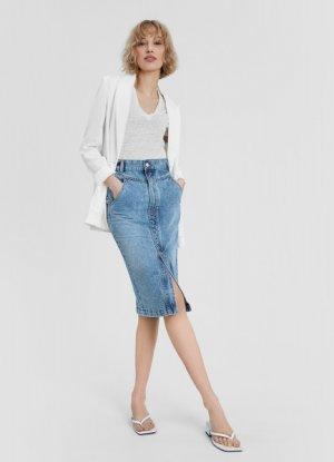 Джинсовая юбка прямого силуэта с кокеткой O`Stin. Цвет: светло-синий