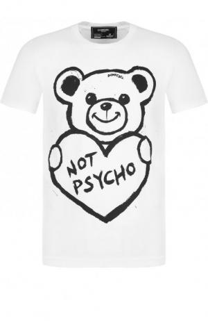 Хлопковая футболка с принтом DOMREBEL. Цвет: белый