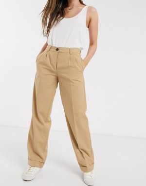 Светло-коричневые прямые брюки с отворотами -Светло-коричневый Pieces