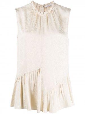 Атласная блузка без рукавов с оборками и змеиным принтом Derek Lam 10 Crosby. Цвет: нейтральные цвета