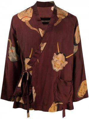 Жакет-кимоно с графичным принтом Uma Wang. Цвет: красный