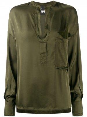 Рубашка в стиле милитари с V-образным вырезом 8pm. Цвет: зеленый
