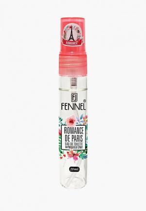 Туалетная вода Fennel Romance De Paris 20 мл. Цвет: прозрачный