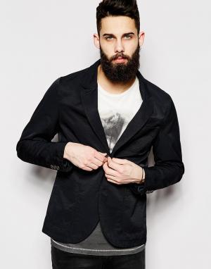 Нейлоновый блейзер узкого кроя в стиле casual от Only & Sons. Цвет: черный