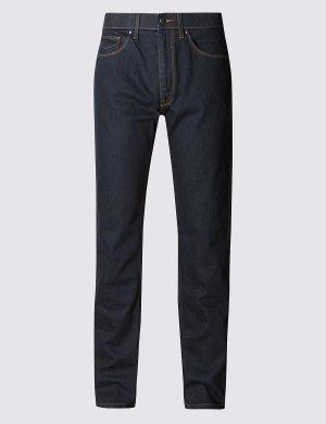Зауженные джинсы Water Resistant M&S Collection. Цвет: индиго