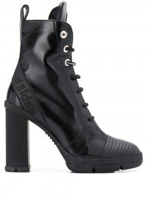 Ботильоны на шнуровке и выском каблуке Baldinini. Цвет: черный