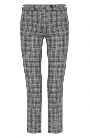 Укороченные шерстяные брюки Kiton. Цвет: светло-серый