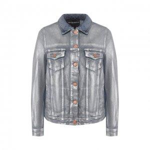 Джинсовая куртка Emporio Armani. Цвет: серебряный