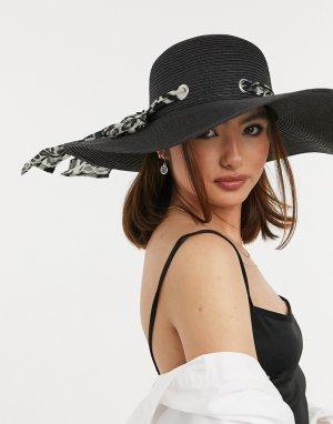 Черная соломенная солнцезащитная шляпа с лентой леопардовым принтом -Черный цвет Boardmans