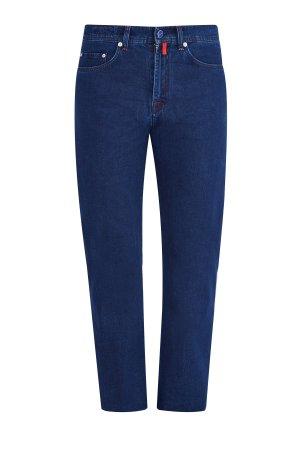 Однотонные джинсы ручной работы с отделкой из эмали на фурнитуре KITON. Цвет: синий