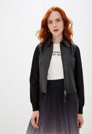 Куртка кожаная Seventy. Цвет: черный