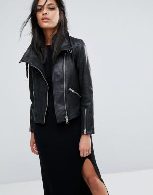 Кожаная байкерская куртка Lewin AllSaints. Цвет: черный
