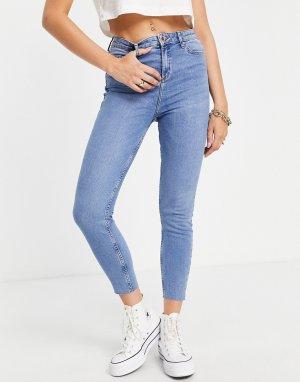 Синие выбеленные зауженные джинсы до щиколотки с завышенной талией Emily-Голубой Miss Selfridge