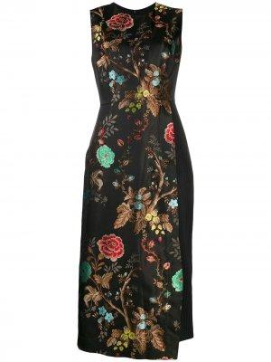 Платье без рукавов с цветочным принтом Antonio Marras. Цвет: черный