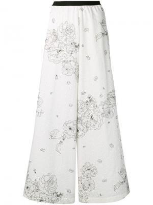 Широкие брюки с цветочным принтом Antonio Marras. Цвет: белый
