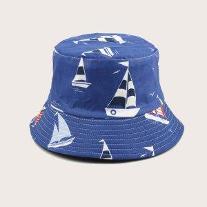 Мужская шляпа с узором лодка SHEIN. Цвет: синий