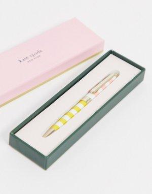 Шариковая ручка с футляром в розовую полоску -Розовый Kate Spade