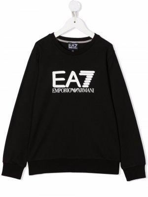 Logo-print cotton sweatshirt Emporio Armani Kids. Цвет: черный