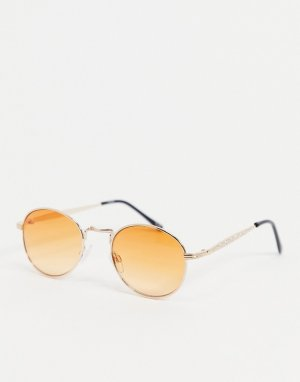Золотистые солнцезащитные очки с круглой оправой и оранжевыми стеклами -Золотистый ASOS DESIGN