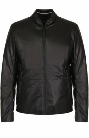 Кожаный пуховик на молнии с карманами Giorgio Armani. Цвет: чёрный