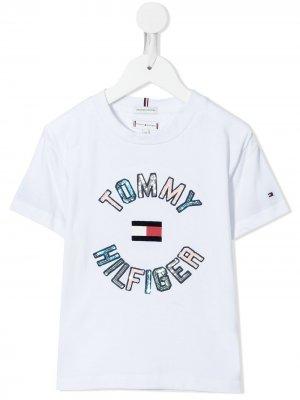 Футболка с логотипом из пайеток Tommy Hilfiger Junior. Цвет: белый