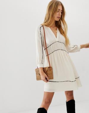 Платье мини с контрастной отделкой Franny BA&SH. Цвет: кремовый