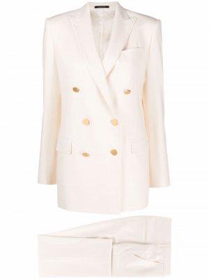 Брючный костюм с двубортным пиджаком Tagliatore. Цвет: белый
