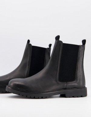 Черные кожаные ботинки челси -Черный H by Hudson