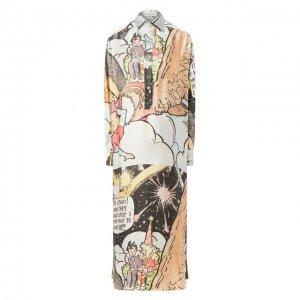 Платье из смеси шелка и шерсти Lanvin. Цвет: разноцветный
