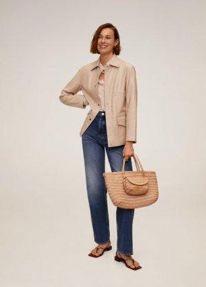 Кожаная куртка - Alegria-i Mango. Цвет: розовый